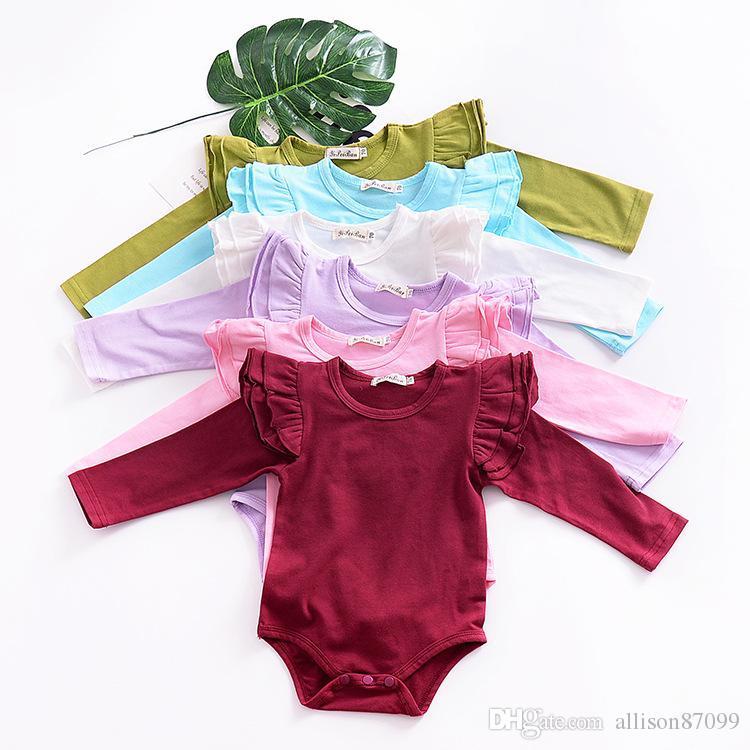 الملابس الداخلية طفلة الملابس نيسيس رومبير رفرفة كم لطيف الصلبة طويلة الأكمام رومبير جميع مطابقة 2019