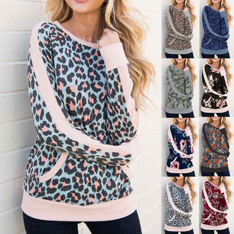 Сексуальные женщины Топы с длинным рукавом Leopard печати Футболка женская высокого качества O-образным вырезом Мода популярных Причинная Tops Довольно рубашки женской одежды