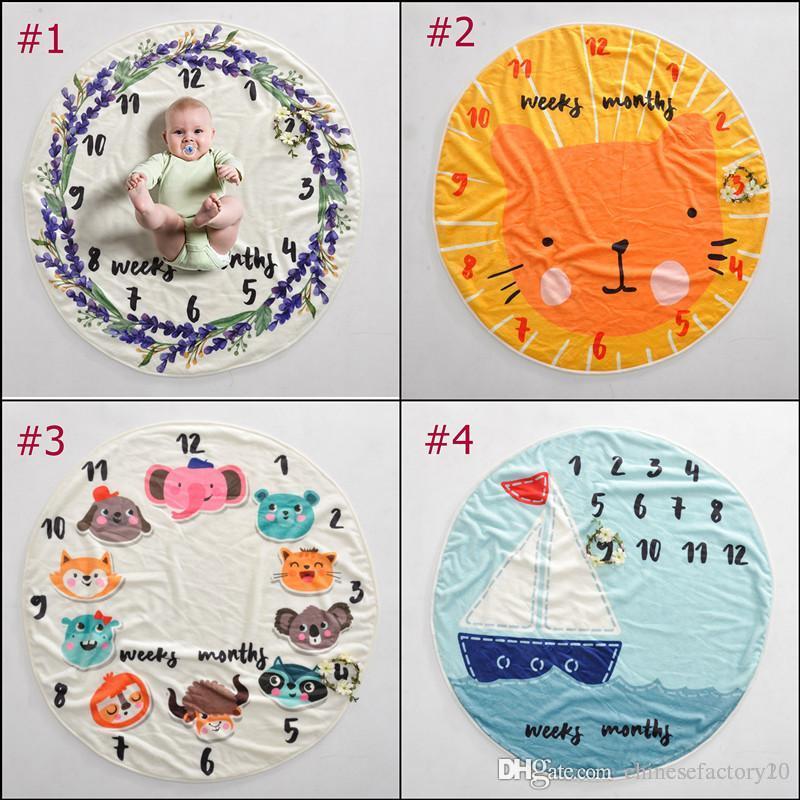 INS Baby Milestone Round Blanket Animal Photography Fondo Props Mantas Infantil Swaddling Flower Number Letter Newborn Kids Wraps 95cm