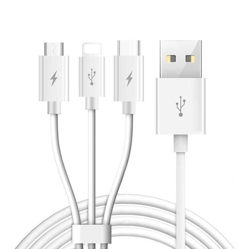 TOTUDESIGN Glory Series 3 en 1 5V 2.4A multi-fonction de charge Câble de données, Longueur: 1,2 m
