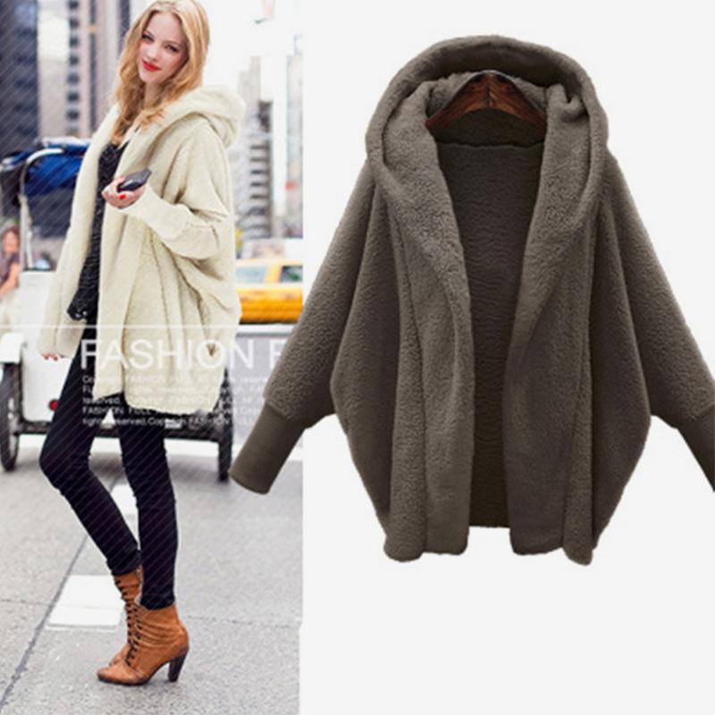 Women's Hooded Double-faced Plush Jacket Pure Color Open Stitch Female Parkas 2018 Autumn Winter Waman Cotton Padded Warm Coat