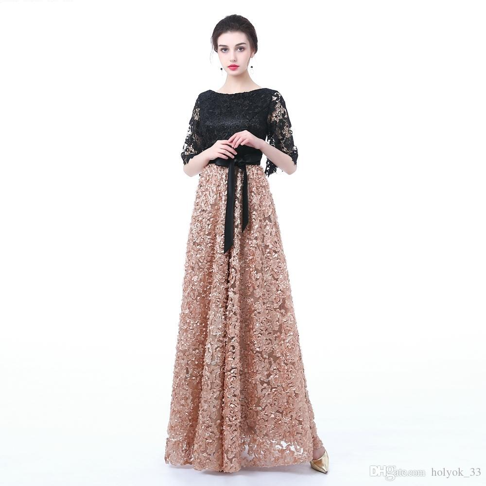 2019 wholesale New Evening Dress Black With Khaki Color Lace Floor-length Long Prom Party Graduation Dresses