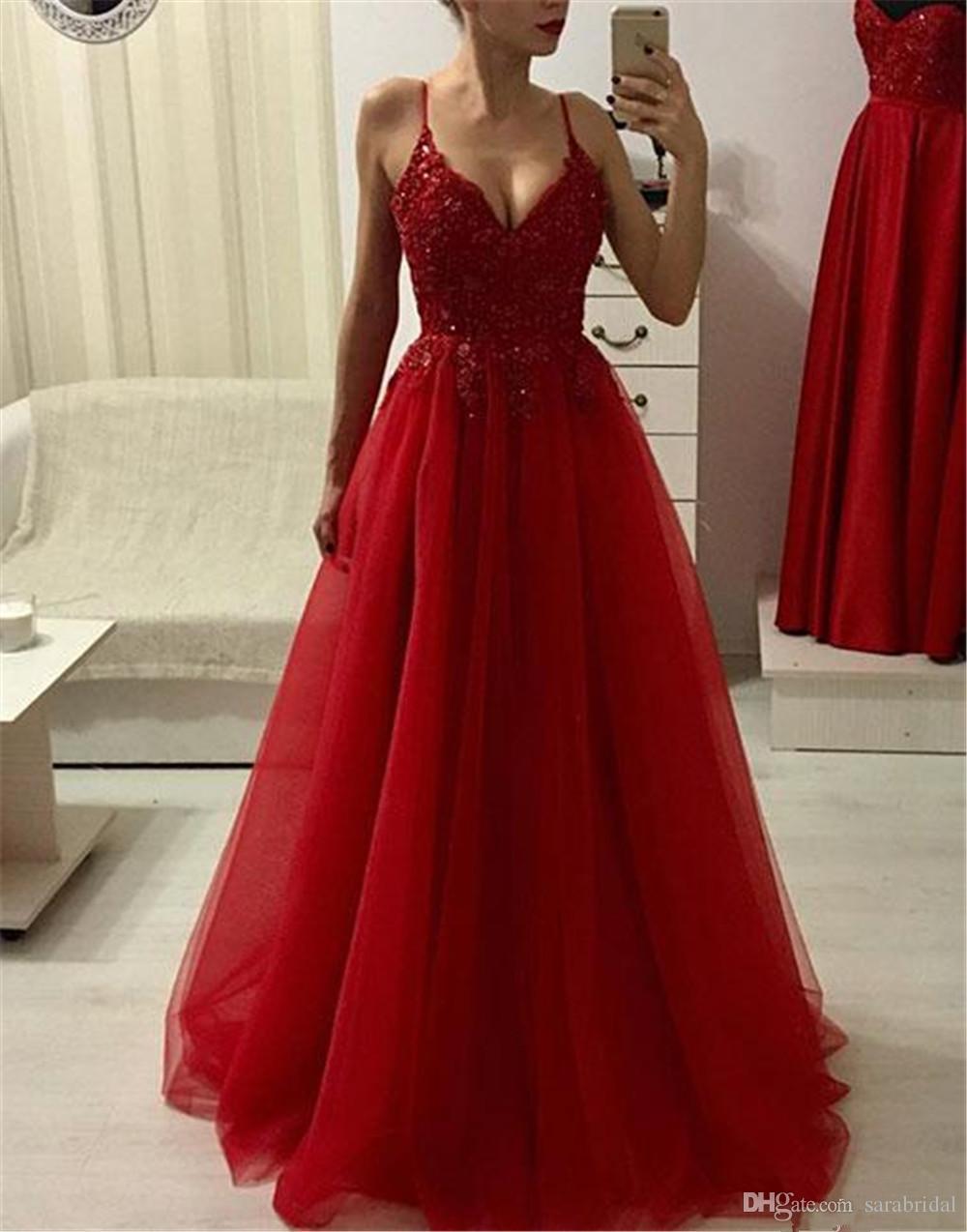 Compre Moderno Rojo Largo Africano Vestido De Fiesta 2019 Correa De Espagueti A Line Long Turkey Noche Formal Dulce 16 Vestidos Fiesta Fiesta Vestido
