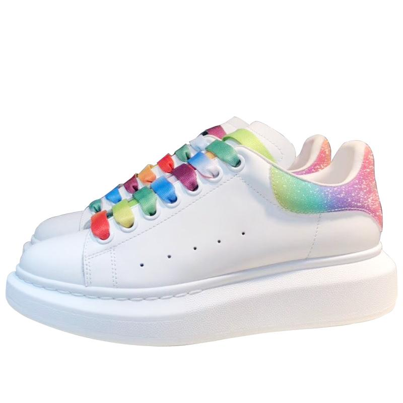 Brand Men cow leather skateboarding shoe Lover fashion sneakers Women Candy-colored reflective rainbow lace Sport casual White shoe,35-44