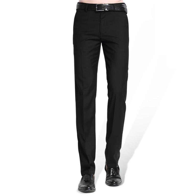 Compre Traje Negro Para Hombres Pantalon Separado Plano Frontal Frente Slim Fit Pantalones Rectos De Negocios Rectos Para Hombres Ropa Delgada De Oficina Pantalones De Vestir Solidos A 45 97 Del Bichery
