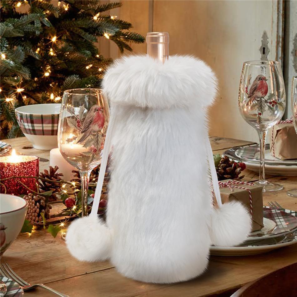 Nueva Navidad felpa botella de vino del copo de nieve bolsas de botella de vino de la cubierta del regalo de la decoración del bolso de Inicio