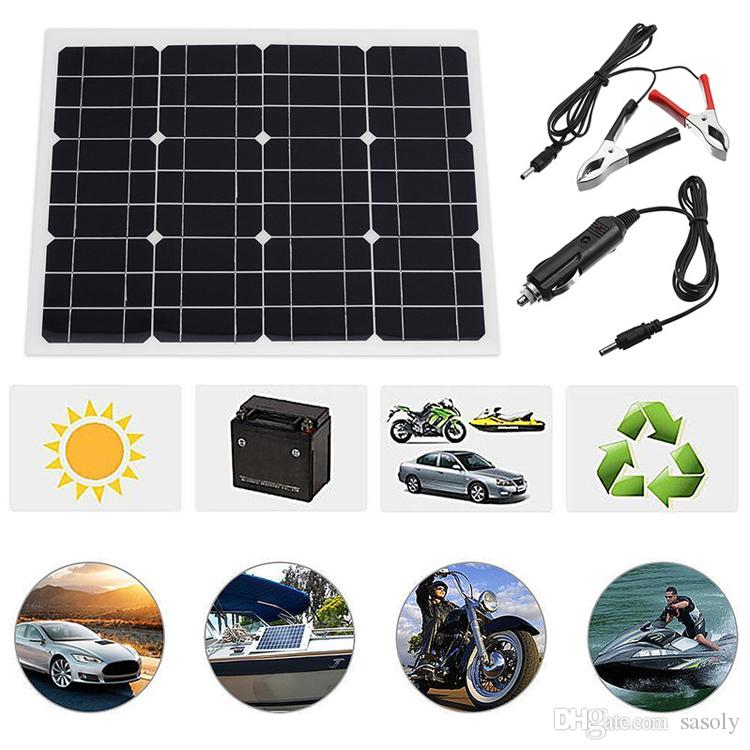40W Watt Extremely Flexible Monocrystalline Solar Panel Charge Battery Clips for Boat Car Power Supply USB