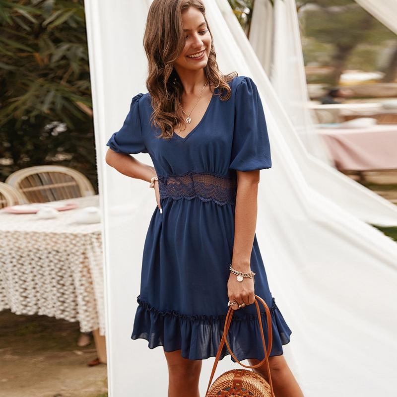 Summer Chiffon Dress Women Casual Mini Dress Women V-neck Half Sleeve Lace Slim Mini Beach Bohemian Sukienka #g4