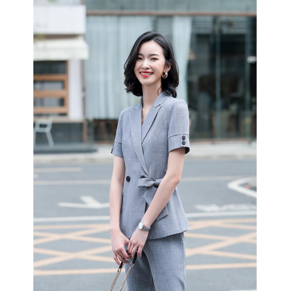 Gwenhwyfar Affari Pant Abiti uniforme casual giacca a maniche corte a doppio petto e Pantalone lungo Blazer grigio Set donne 2 pc Suit