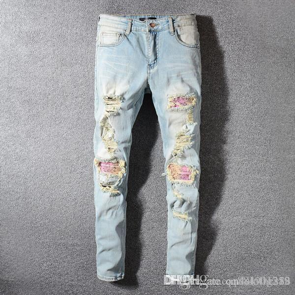 Mens Designer Jeans Distressed Ripped Biker Designer Jeans Slim Fit Motorcycle Biker Denim pantalones mens skinny jeans