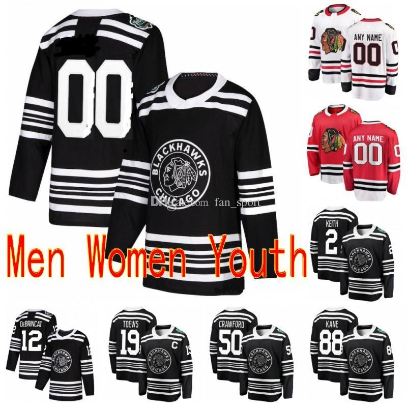 Custom 2019 Winter Classic Chicago Blackhawks Patrick Kane Duncan Keith Brandon Saad Bobby Hull Cualquier nombre Cualquier número Hockey cosido Jersey
