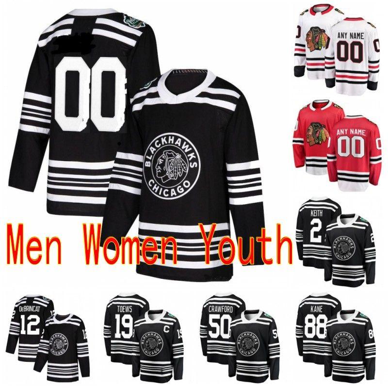 Özel 2019 Kış Klasik Chicago Blackhawks Patrick Kane Duncan Keith Brandon Saad Bobby Hull Herhangi bir Numara Herhangi Bir Numara Hoker Dikişli Jersey
