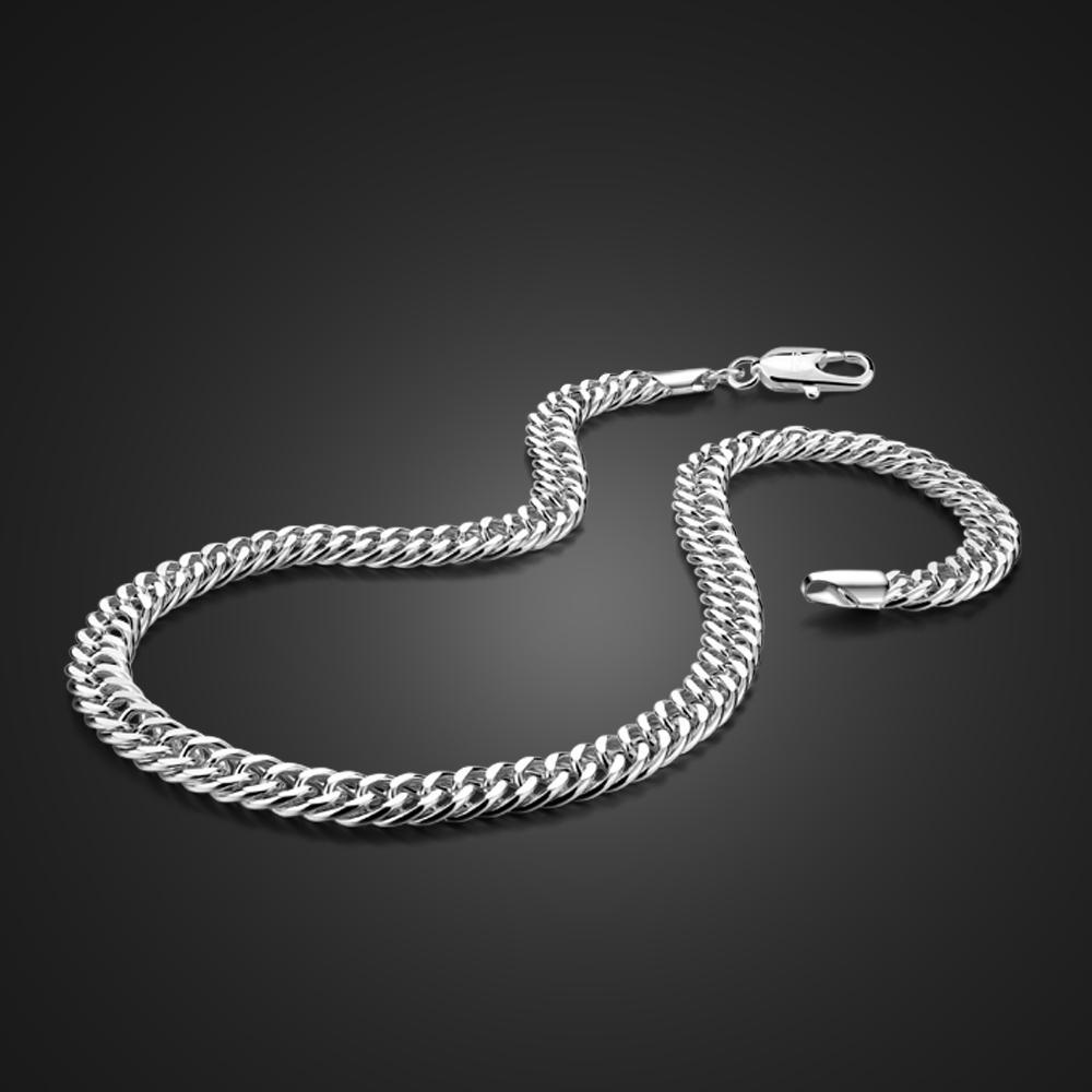 Moda Masculina 7MM 22 polegadas 100% 925 colares de prata esterlina homens Curb correntes de ligação Meninos Choker Acessórios Jóias