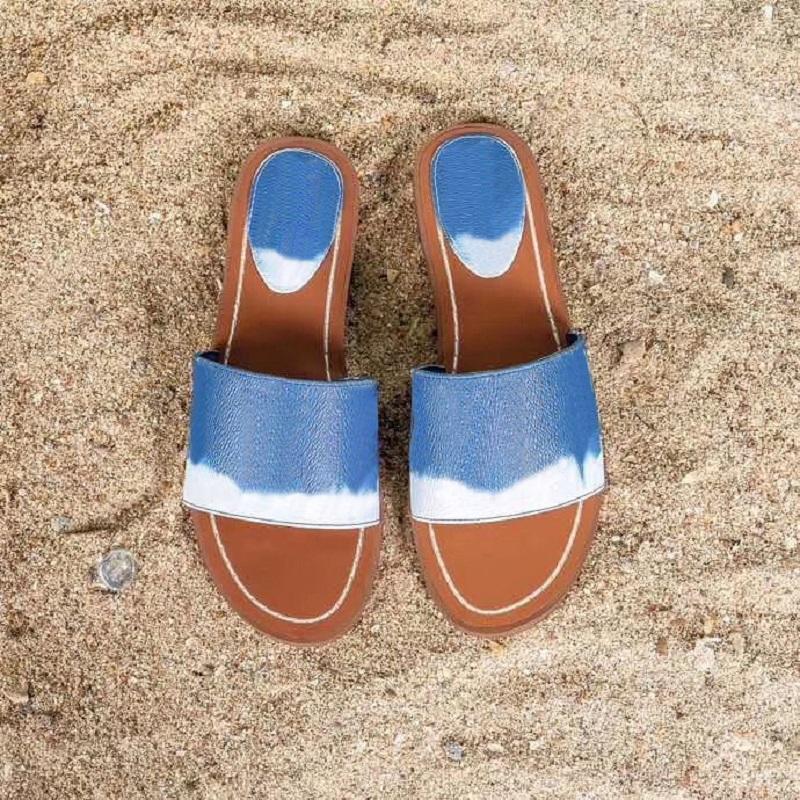 2020 الصيف المرأة الشاطئ صندل ickale شقة بغل المرأة قفل انها شبشب قماش فاخر الأزرق pantoufle الشرائح slides مصمم الأحذية مع مربع