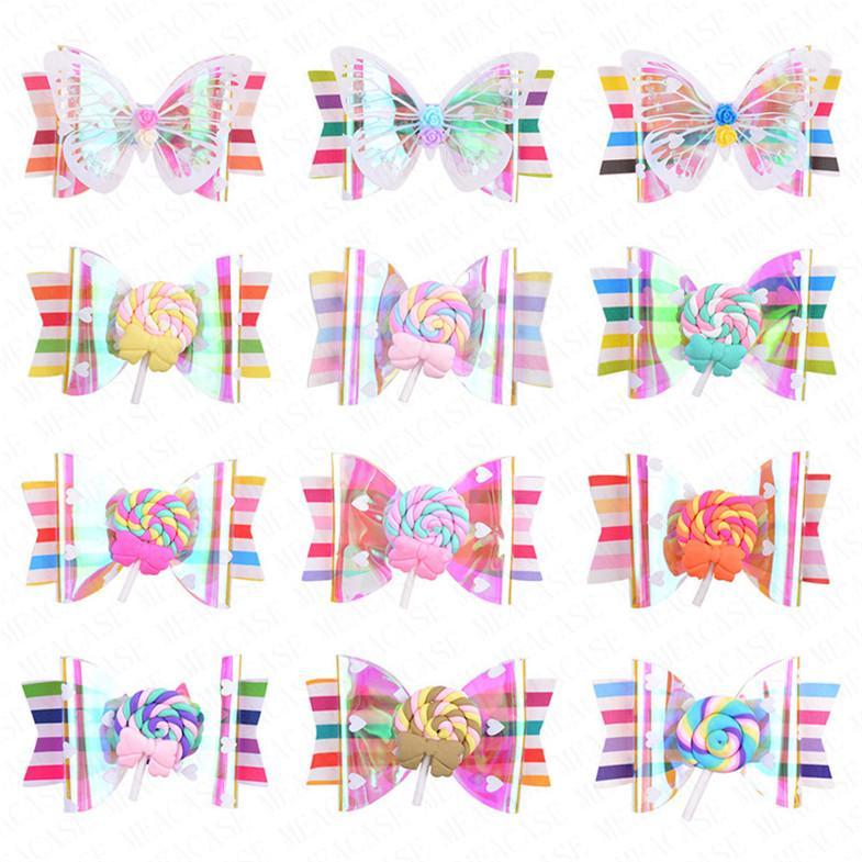 2020 Clips Nuovo Arcobaleno sveglia del Lollipop bambini tornante Accessori per le ragazze scherza ornamento dei capelli Barrettes Hairclip Copricapo D62802