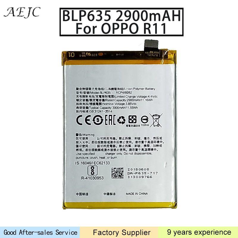BLP635 2900mAh Li-Polymer Para OPPO R11 bateria de iões de lítio Bateria Bateria Batterij