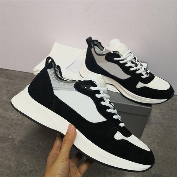 Melhores B25 Oblique Runner sapatilha Homens Plataforma Shoes Designers Preto Branco Camurça Couro Trainers malha Lace-up Shoes Casual Box.