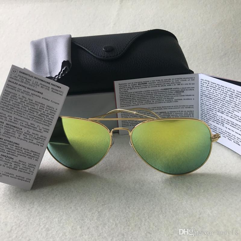 1 مصمم العلامة التجارية قطع زجاج عدسة النظارات الشمسية الكلاسيكية الطيار نظارات الشمس إطار الذهب Raysfor رجل إمرأة UV400 Bans58mm عدسة 62mm ومع حالات G15