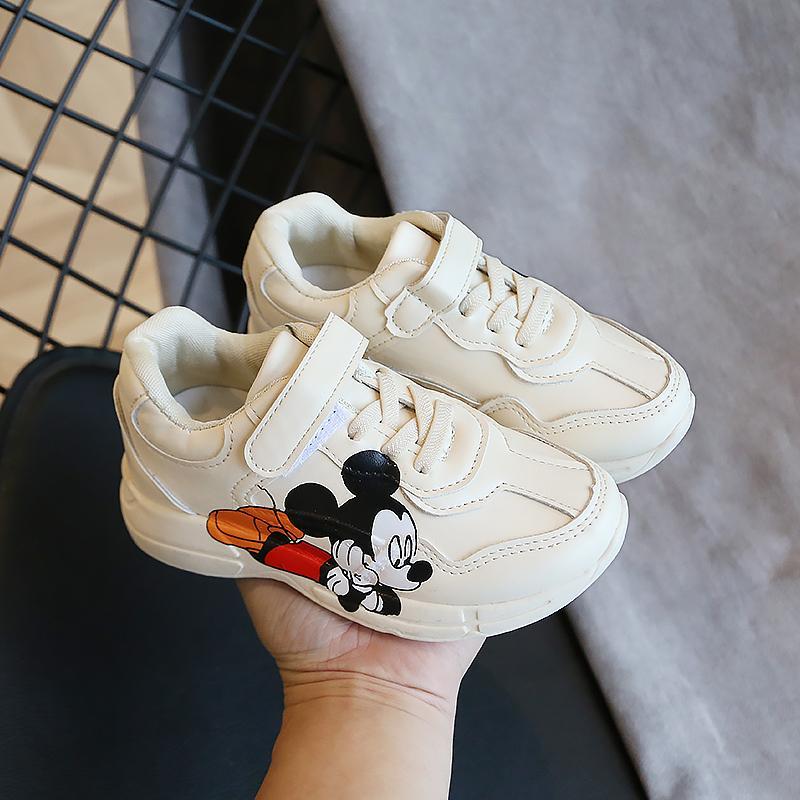 Children Toddler Baby Boys Cartoon Print Sneaker Girl Soft Anti-Slip Sport Shoes Brown