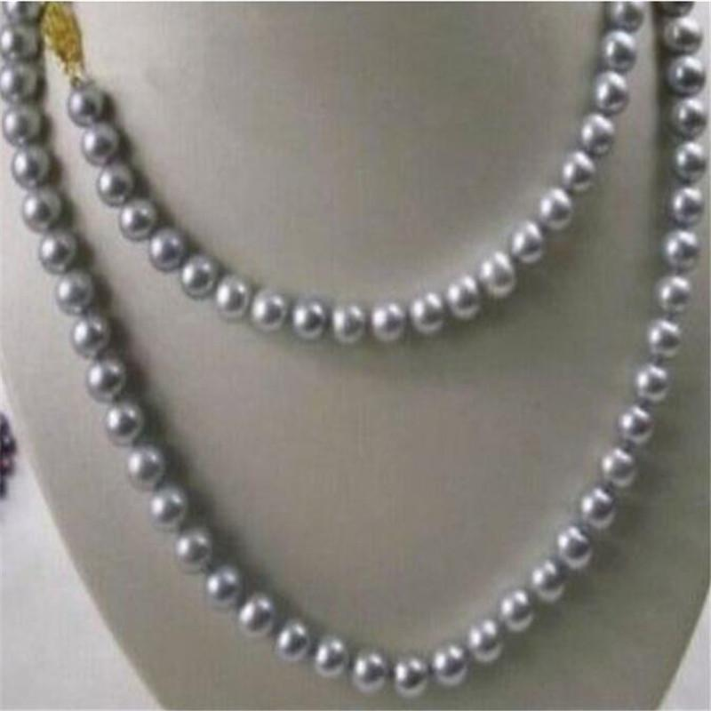 """SURPRISING 49"""" 9-10MM NATURAL SOUTH SEA GRAY PEARL NECKLACE YELLOW CLASP>Selling jewerly free shipping"""