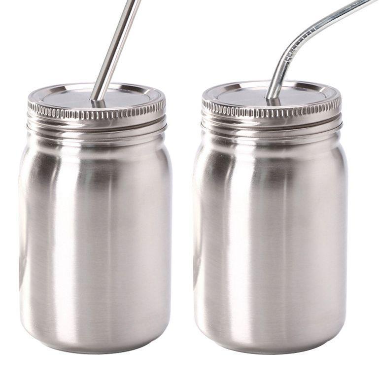 14 oz pot Mason en acier inoxydable Widemouth Mason Jars avec de la paille couvercle en acier inoxydable des contenants pour boire et stockage LJJK2207