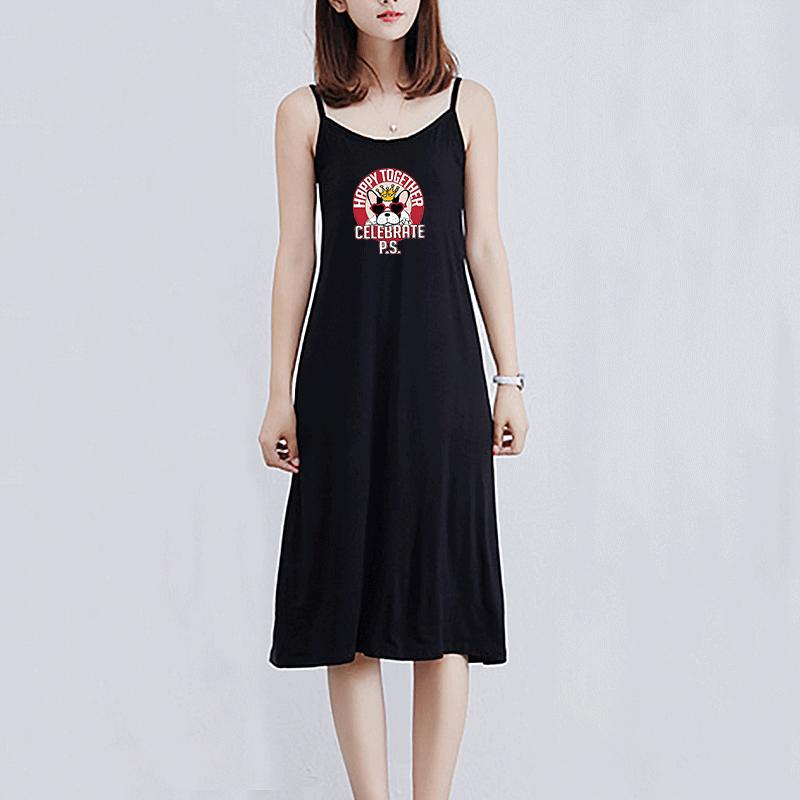Fashion women's dress 2020 summer new breathable trend casual half-length skirt with cartoon animal dog print pattern dress size M-XL-2