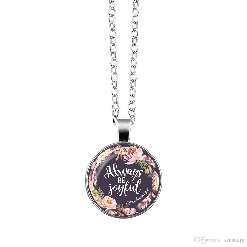 Vogue Silver Christian Bible Necklace liberty of belief Charms Bible Psalm Glass Flower Picture Pendant Women Celebrity Quotes Jewelry