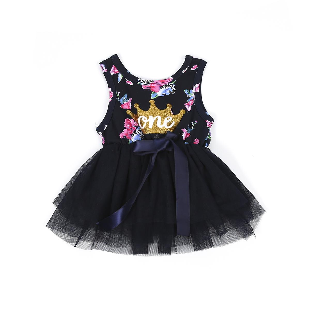 Kid Girls Princess Baby Dress Newborn Infant Baby Girl Clothes Purple Floral Crown Print Tutu Ball Gown Party Dresses
