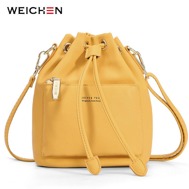 Weichen Fashion Bucket Shoulder Bag Women Drawstring Crossbody Bag Female Messenger Bags Ladies Synthetic Leather Handbag Sac Y19052402