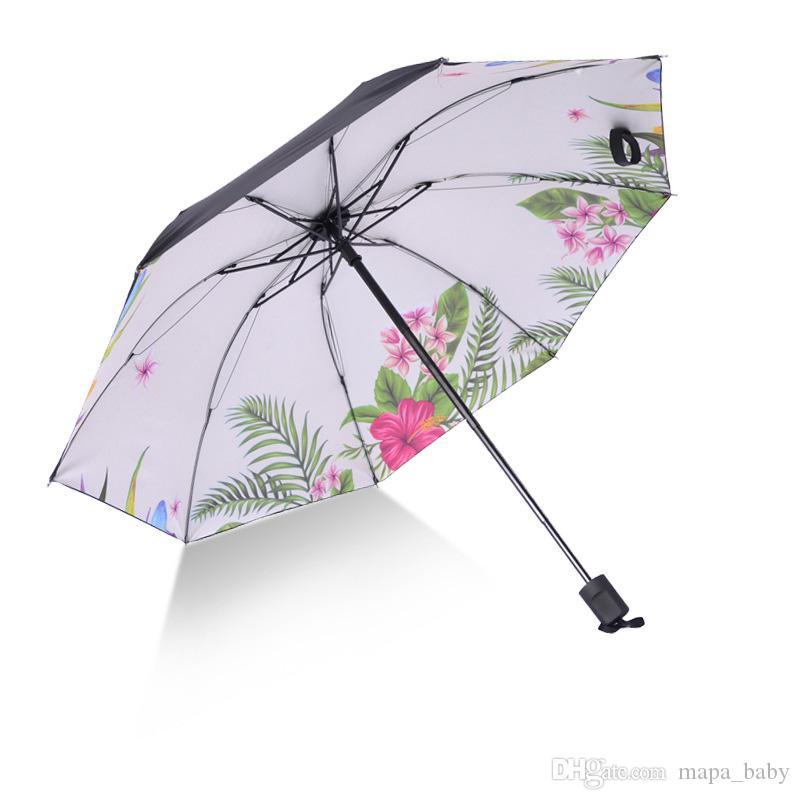 Folding Umbrella doppelte Schicht windundurchlässige Regen Sonne Autosonnenschutz Regenschirme klappbaren Griff Regenschirme 23 Designs Blumen-Drucken