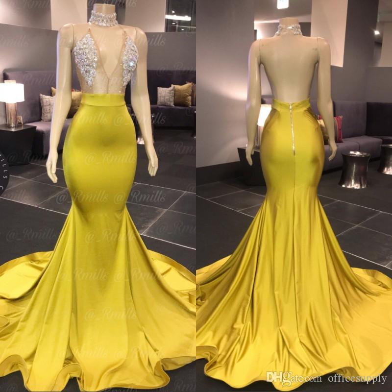 V 넥 민소매 섹시한 인어 Prom Dresses 2020 스윕 기차 Crytal 얼룩 정식 아프리카 이브닝 드레스 특별 행사 가운