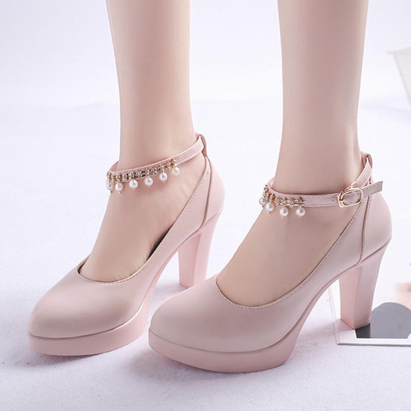Plus Size Women Wedding Shoes String Bead Ankle Strap High Heels Dress Shoes Platform Heels Bridal Shoes Pearl Pumps 7.5cm N7147 Y200702