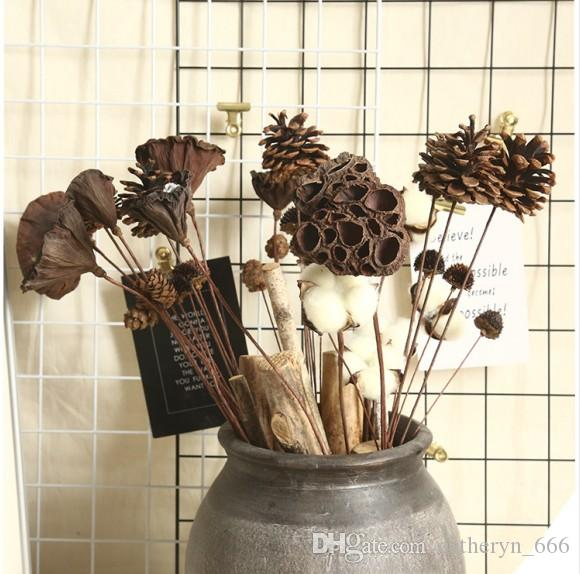 Dry Flowers Pine Cone Cotton Rudbeckia hirta Cupule Re-Stemmed Dry Lotus Pods Decorative Mini Dry Bouquet for Wedding Floral Arrangements