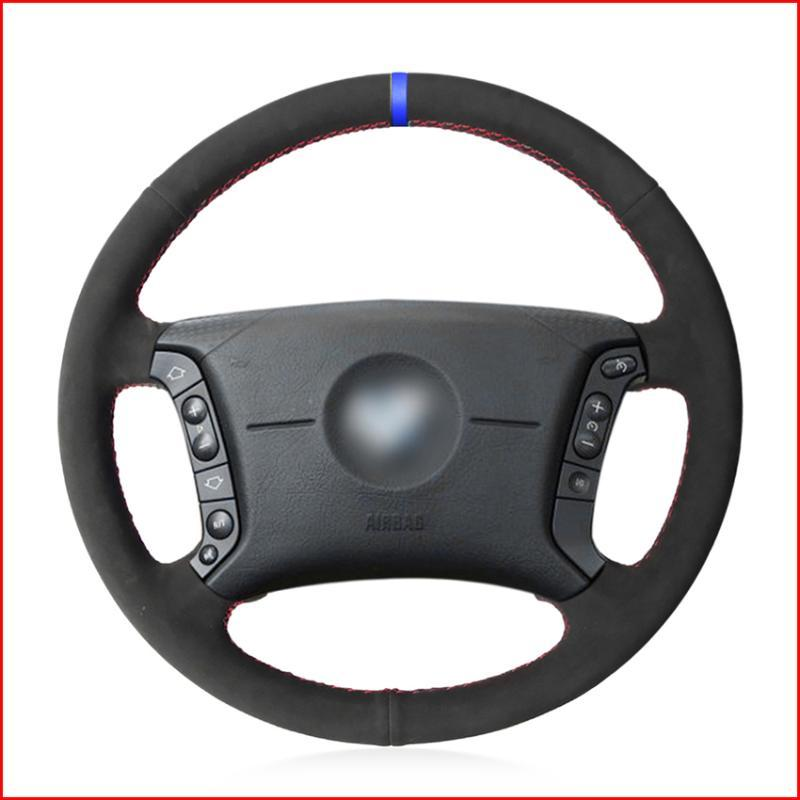 MEWANT Black Suede Steering Wheel Cover for E36 1995-1997 E46 1998-2004 X3 E83 X5 E53 E38 1994-2001 E31 1996