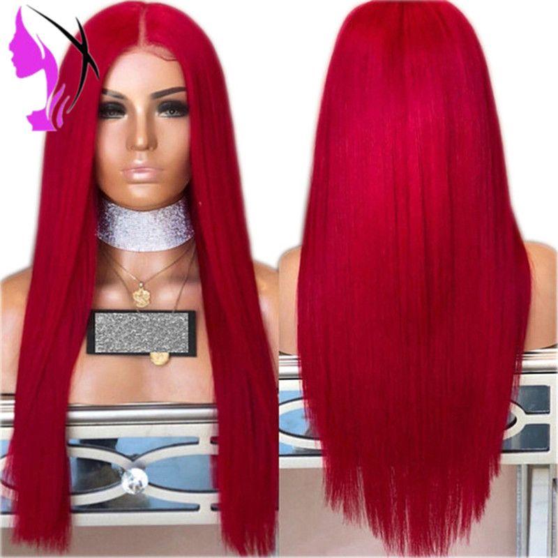 Длинный красный парик Cosplay шелковистые прямые Синтетический фронта шнурка парики для женщин 10 Цвет Розовый Черный Серый с волосами младенца