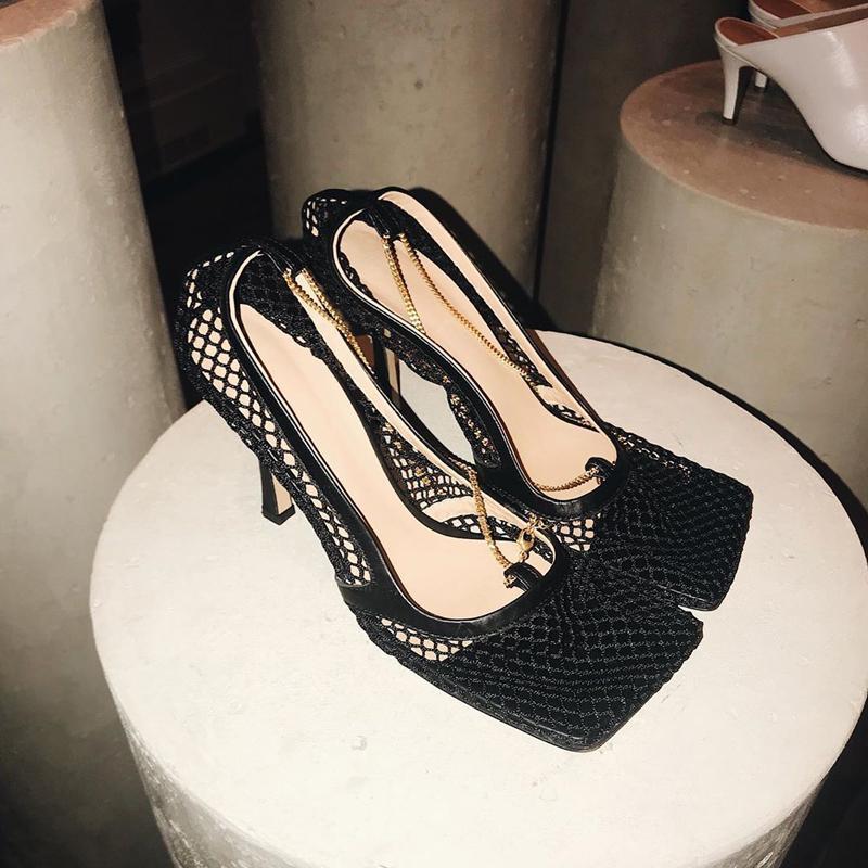 Caldo Toe Sale-Vintage Piazza alti talloni Designer Shoes Donne Air Mesh delle donne libere di trasporto