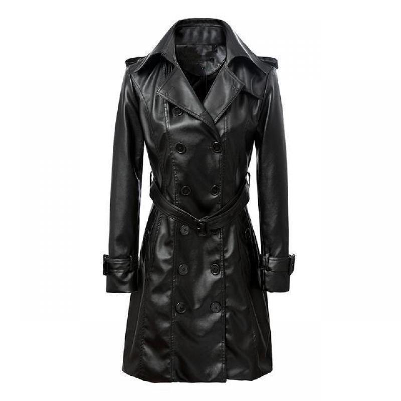 Wholesale-Women Pu Leather Trench Coat Female Overcoat Spring Autumn Long Sleeve Double-breasted Long Coat Ladies Plus Size Windbreaker