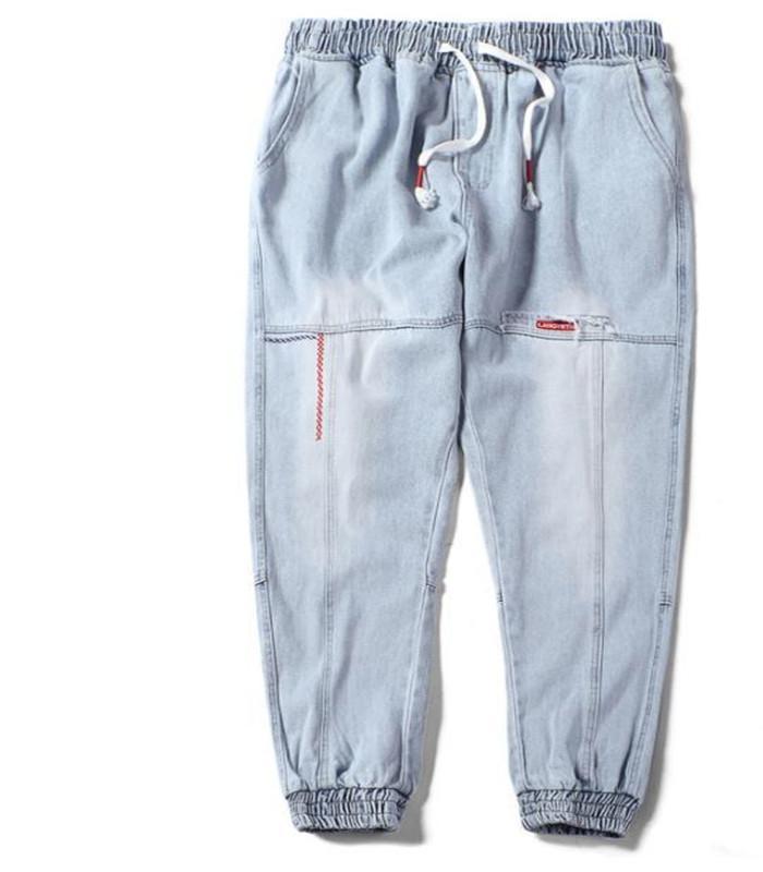 Chic Men Teenager Harem Jeans Spring Casual Jogger Pants Loose Plus Size Hiphop Jean Pantalones