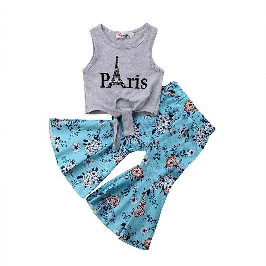 Moda New Toddler Baby Girl Ropa de verano Torre Eiffel Chaleco Tops Floral Bell-Bool Flare Pant Pant 2pcs Conjunto de ropa