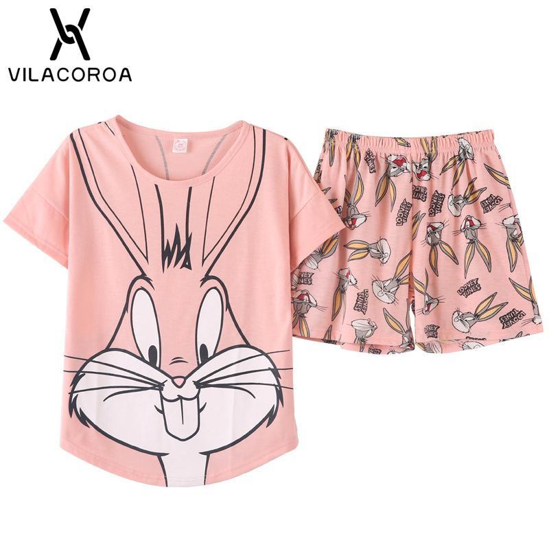 Manga de impresión de dibujos animados Tops Shorts Pijamas Set mujeres cuello redondo manga rosa ropa de dormir ropa de dormir de verano 2 unids / set Y19051801