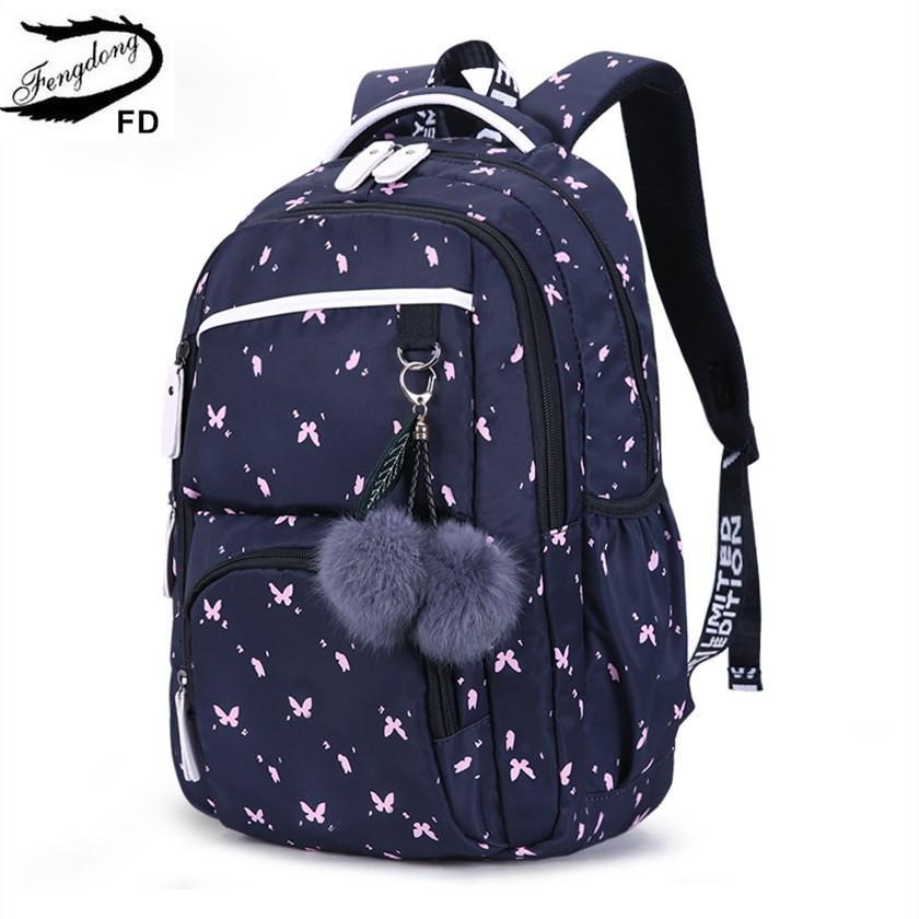 FengDong lindos bolsos de escuela para niñas adolescentes mochila escolar de estilo coreano para niñas decoración de bolas de piel bolsa de regalo regalo de niña Y190601