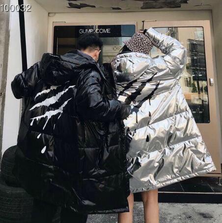 Lüks Erkekler Kadınlar Parkas Aşağı Coat Uzun Süre Erkekler Kış Sıcak Coat Parlak Renk Beyaz Siyah Ceket Yüksek Kaliteli Kış Artı boyutu S L