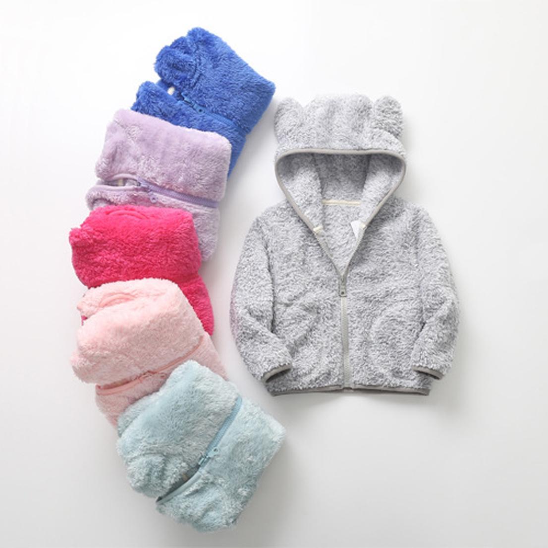 Kinderbär Ohren Form Coral Fleece Langarm-Fest Jacke Sweatshirt Outwear mit Tasche