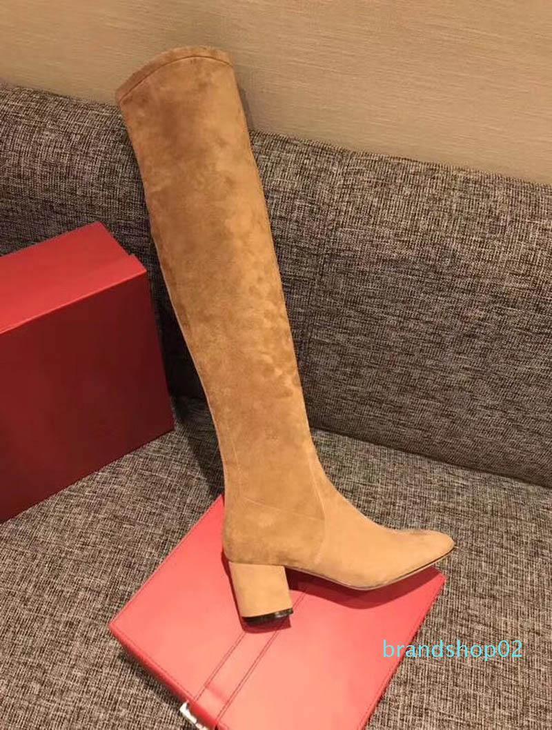 cores qualidade Venda de alta quentes couro genuíno coxa alta sexy botas de salto grosso med designer marca desfile de moda wome estilista