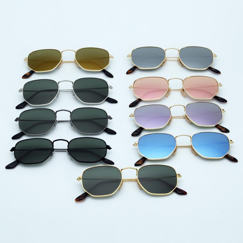 النظارات الشمسية النسائية سداسية النظارات المعدنية العدسات الزجاج المسطحة 11 ألوان مع صندوق وحزم كل شيء
