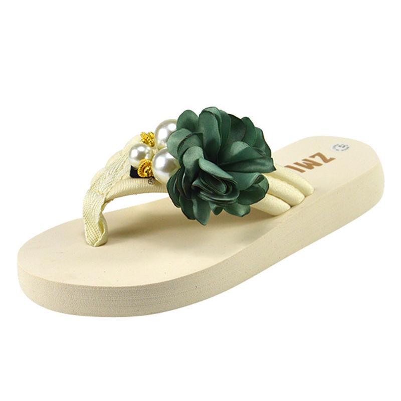 das mulheres flip-flops Verão tecido stretch meninas da flor doce e Pearl Chinelos antiderrapantes Plano Praia Sapatos fêmeas calçado A40
