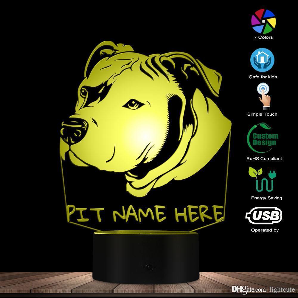 Pitbull sur mesure 3D LED Night Light Pit Bull Head Portrait illusion 3D optique Lampe LED avec le nom de chien personnalisé Pitties cadeau