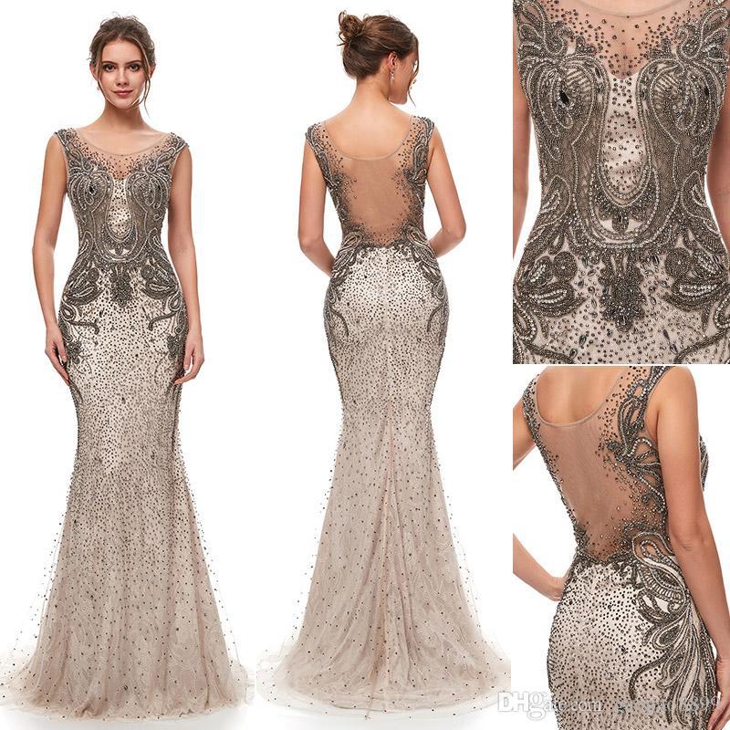 2019 NEW Great Gatsby Vintage Mocha Luxury Beaded Mermaid Evening Dresses Wear yousef aljasmi Sheer Neck Cap Sleeve arabic Prom Formal Gowns