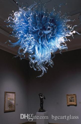 Арт дизайн матовое выдувное стекло Синяя люстра LED AC 110V современный арт деко висит LED Chihuly стиль Синяя стеклянная люстра для декора виллы