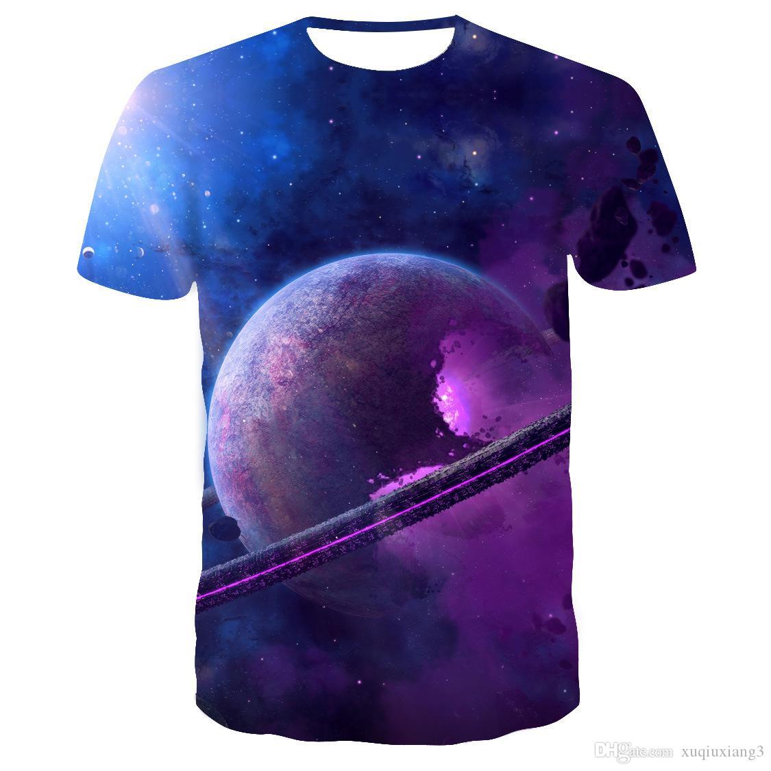 الصيف نمط رجل t قميص 3D الطباعة ستار غالاكسي الكون الفضاء الطباعة الملابس للرجال بأكمام قصيرة الأعلى تيز تي شيرت S-6XL